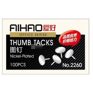 AIHAO, 100 шт., Набор канцелярских кнопок, Из никеля