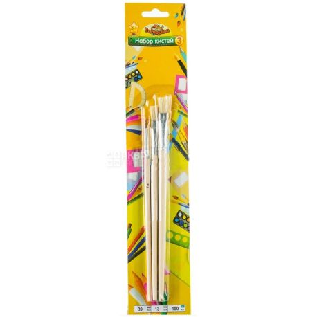 AIHAO, 3 pcs., A set of brushes for painting, blister