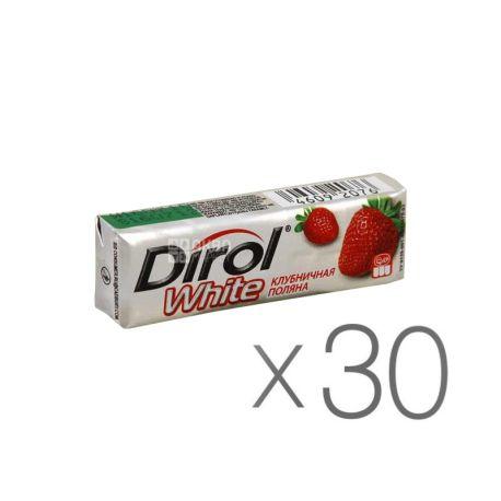 Dirol, Упаковка 30 шт. по 14 г, Жувальна гумка, White, Полуниця