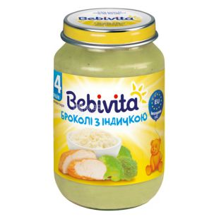 Bebivita, 190 г, Мясо-овощное пюре, Брокколи с индейкой