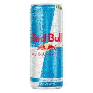 Red Bull, 24 шт. по 250 мл, Енергетичний напій, Sugarfree, ж/б