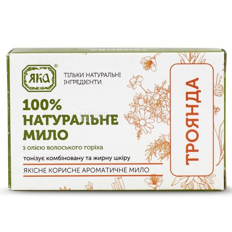 Yaka, 75 g, Soap natural, With walnut oil, Rose, m / s
