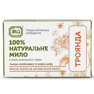 Яка, 75 г, Мило натуральне, С олією волоського горіха, Троянда, м / у