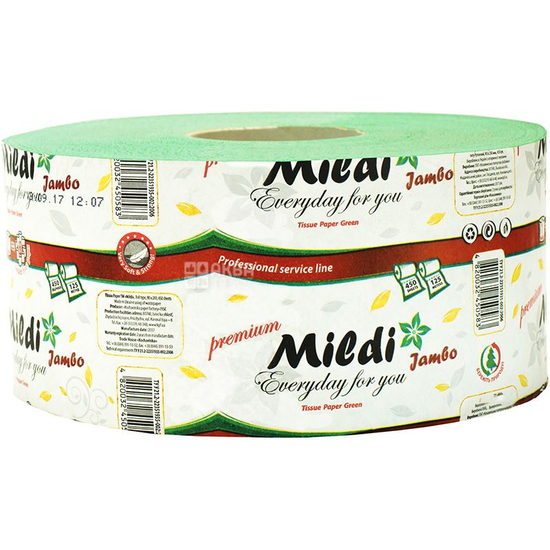 Mildi Jumbo, 1 рул., Туалетная бумага Милди Джамбо, 2-х слойная