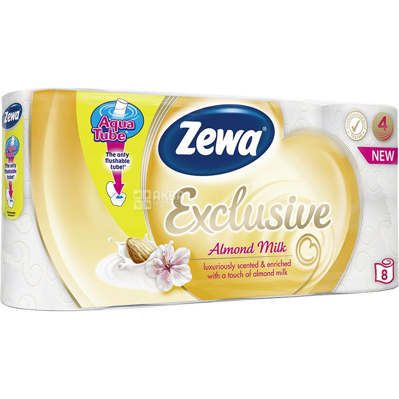 Zewa Exclusive Almond Milk, 8 рул., Туалетная бумага Зева Эксклюзив, Миндальное молочко, 4-х слойная