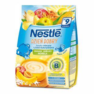 Nestle, 230 г, Молочная каша, Рисово-кукурузная, С бананом, яблоком и абрикосом, м/у