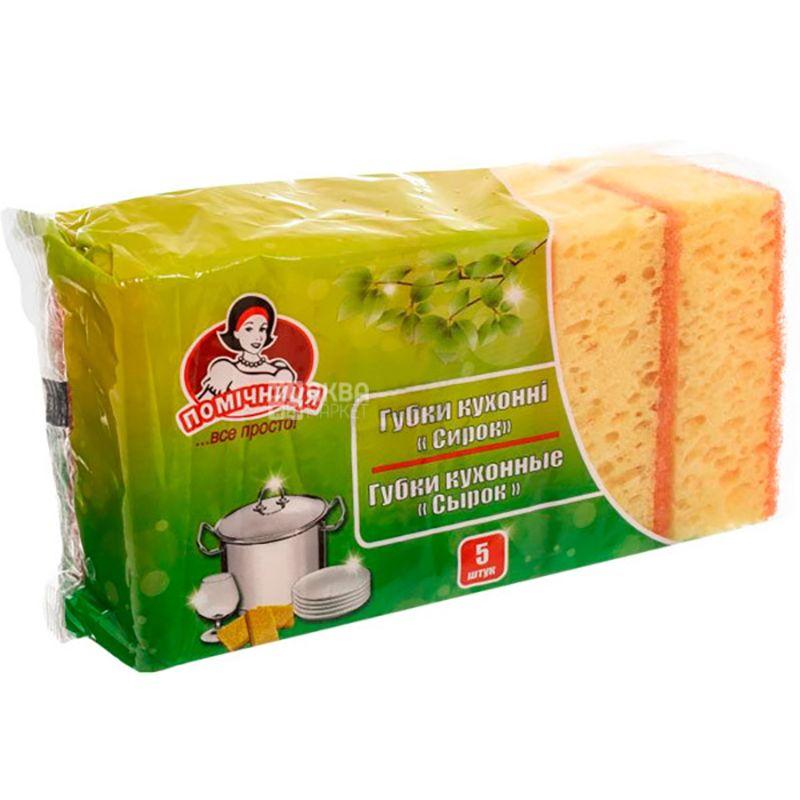 Assistant, 5 pcs., Kitchen sponges, Curd cake, m / s
