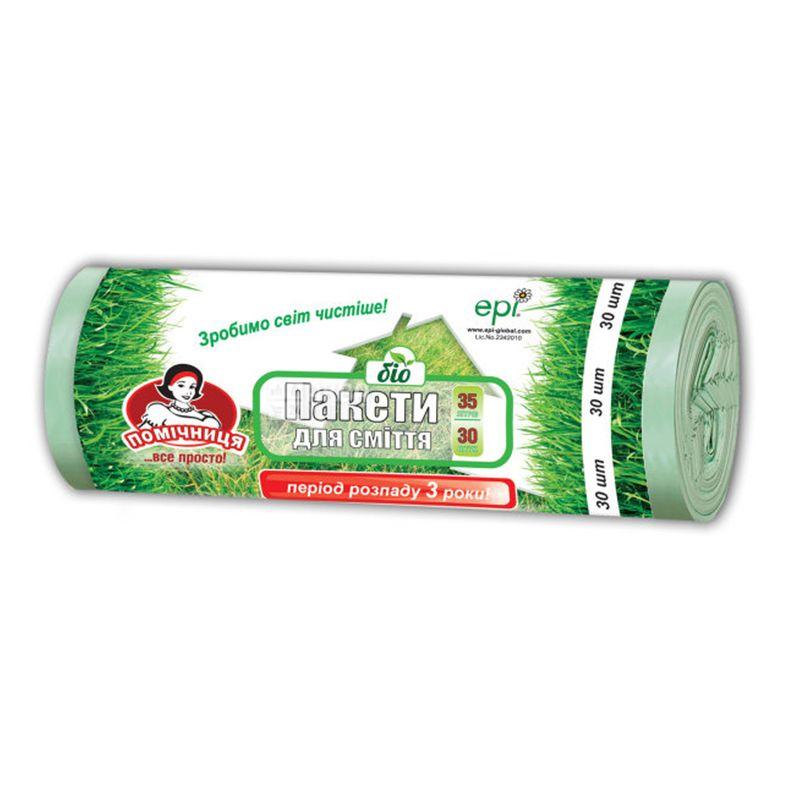 Помощница, 30 шт., 35 л, Пакеты для мусора, Био, без затяжек, прочные, зеленые