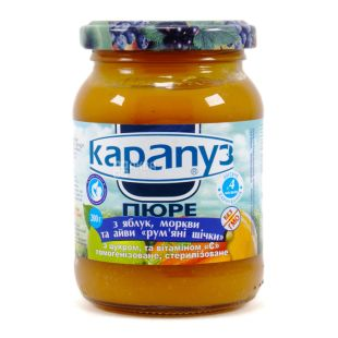 Карапуз, 200 г, Пюре дитяче, З яблук, моркви та айви