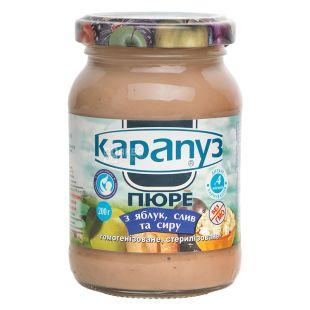 Карапуз, 200 г, Пюре дитяче, З яблук, слив та сиру