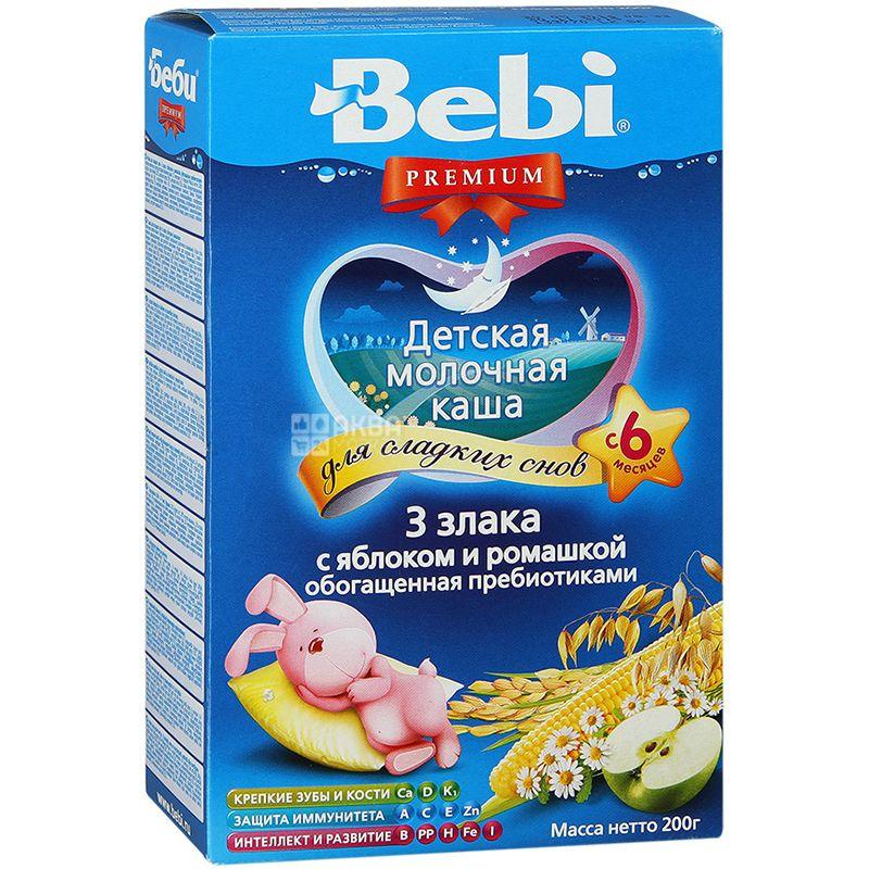 Bebi Premium, 200 г, С 6-ти месяцев, Каша молочная, 3 злака с яблоком и ромашкой