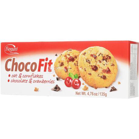 Bogutti, 135 г, Печенье, Choco Fit, С шоколадной крошкой и клюквой