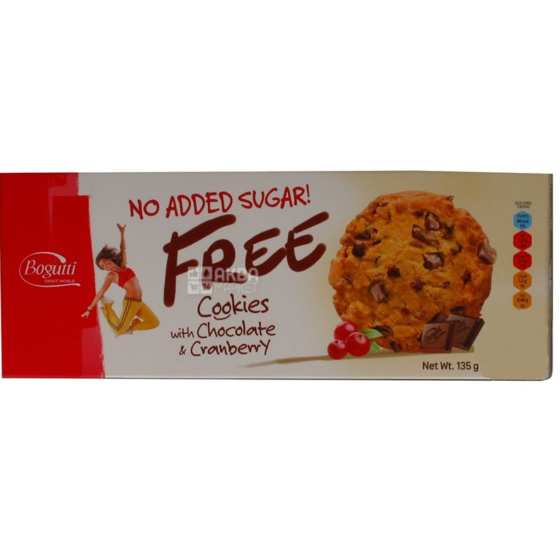 Bogutti, 135 g, Biscuits, Free, Sugar free, With chocolate and cranberries