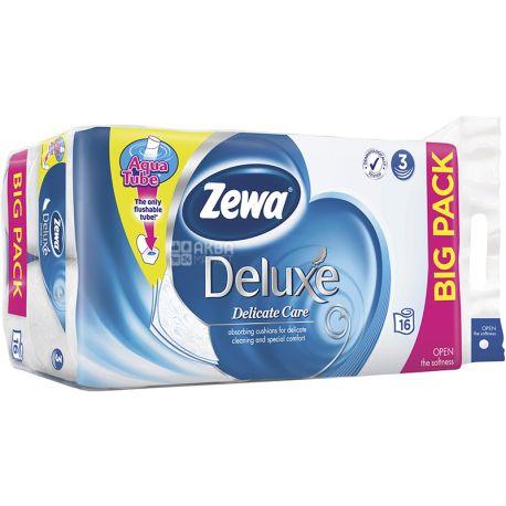 Zewa Deluxe Delicate Care, 16 рул., Туалетная бумага Зева Делюкс, Деликатная Забота, 3-х слойная