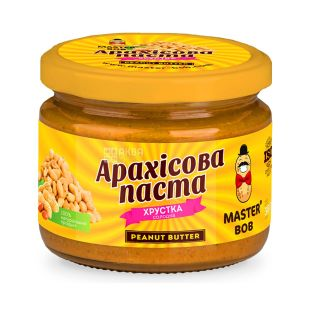 Master Bob, 200 g, Peanut Paste, Crispy, Sweet, Glass