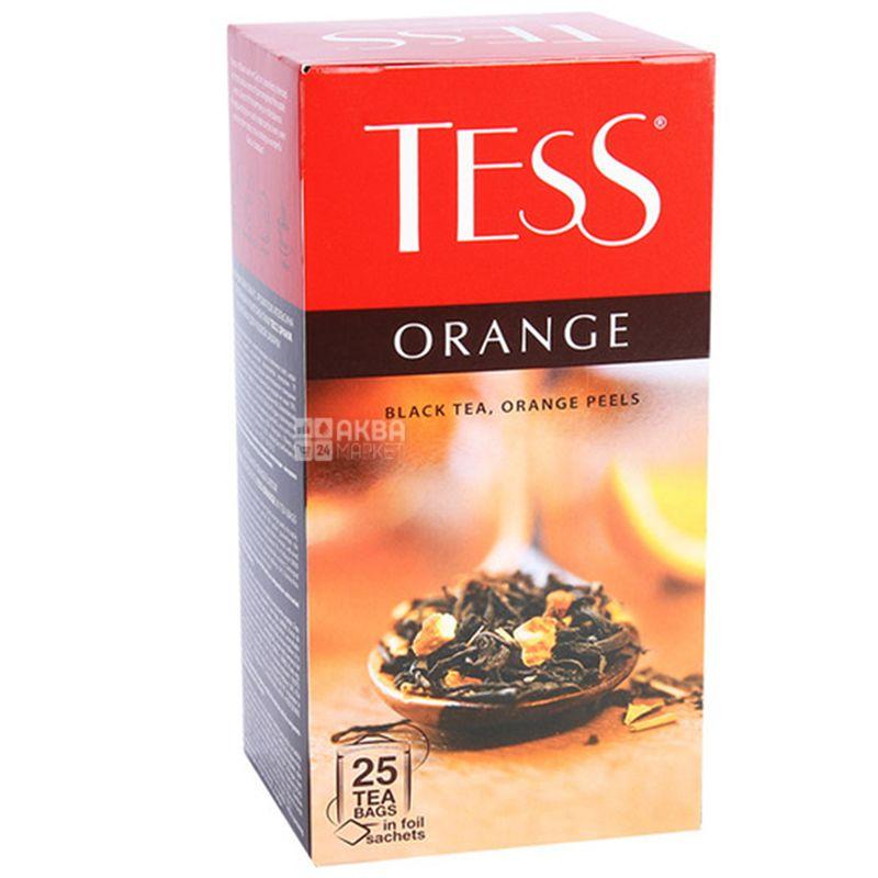 Tess Orange, 25 пак., Чай Тесс, Оранж, чорний з цедрою апельсина