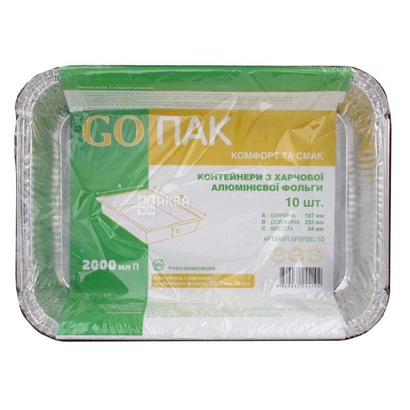 GOPACK, Контейнери харчові, прямокутні, алюмінієві, 10 шт., 2000 мл, 187х253х54 мм