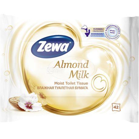 Zewa Мoist Almond Milk, 42 аркуші, Туалетний папір Зева, Мигдальне Молочко, Вологий