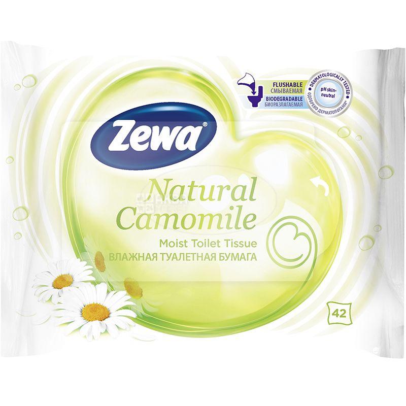 Zewa Мoist Natural Camomile, 42 листа, Влажная туалетная бумага Зева, Ромашка