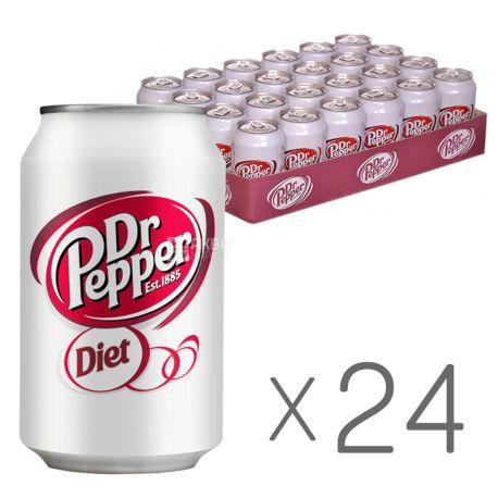 Dr Pepper, Diet, Упаковка 24 шт. по 0,33 л, Доктор Пеппер, Диетический, Вода сладкая, низкокалорийная, ж/б
