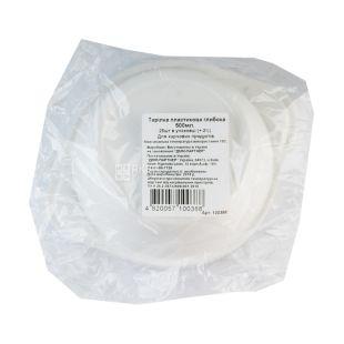Тарелка пластиковая глубокая, 100 шт., 500 мл, диаметр 152 мм, Белая