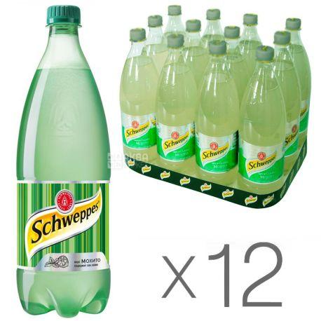 Schweppes, Classic Mojito, Упаковка 12 шт. по 1 л, Швепс, Классический Мохито, Вода сладкая, с соком лайма, ПЭТ
