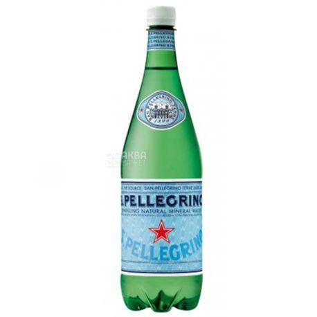 San Pellegrin, 1 л, Мінеральна вода, Газована, ПЕТ, ПЕТ