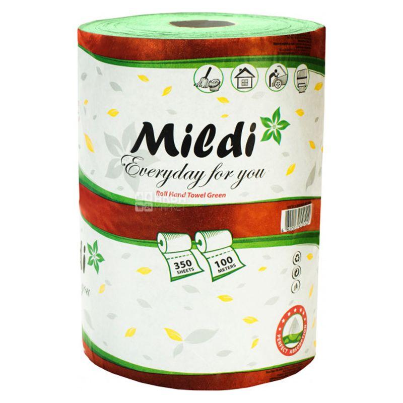 Mildi,1 рул., Полотенца бумажные Милди, однослойные, зеленые, 350 отрывов, 100 м