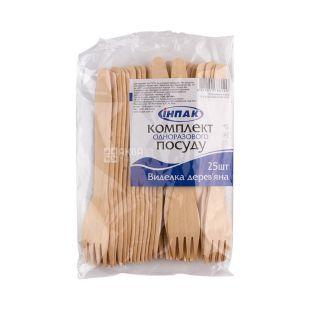 Inpak, 25 pieces, Fork, Wooden, Plastic Bag