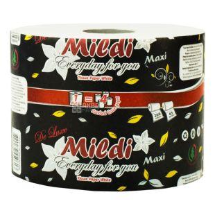 Mildi, 65 м, Туалетний папір, Maxi Premium, З гільзою, Двошаровий, 230 відривів, Білий