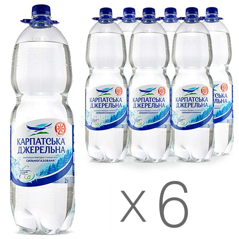 Карпатська Джерельна, 2 л, Упаковка 6 шт., Вода минеральная сильногазированная, ПЭТ
