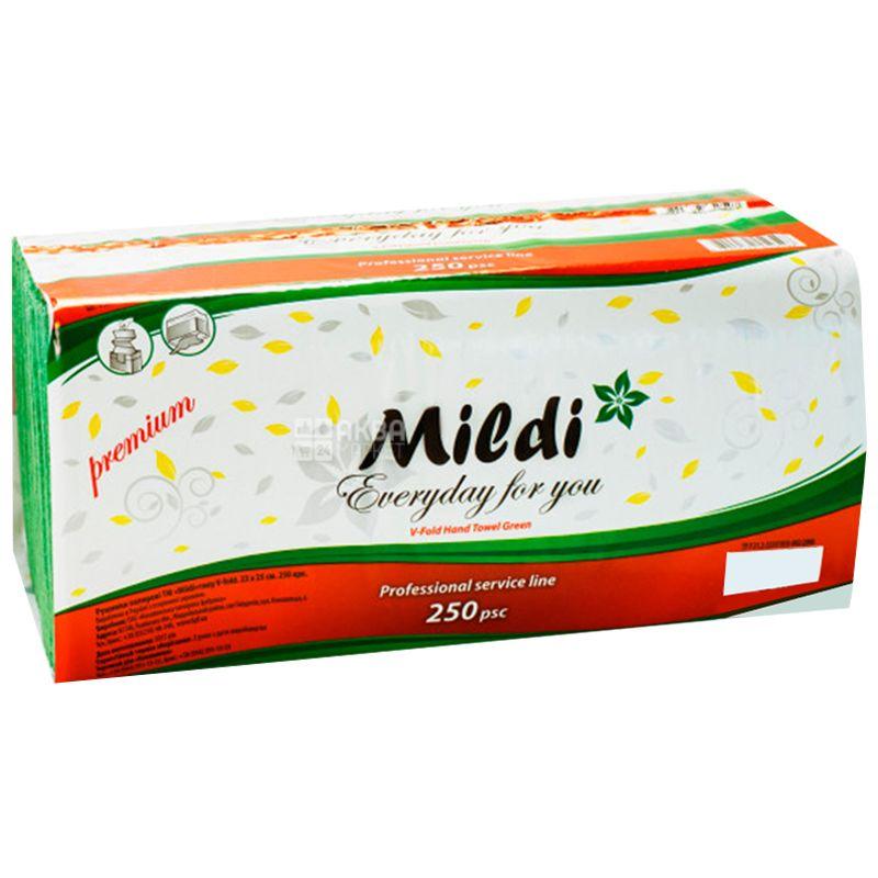 Mildi, Premium, 250 листов, Полотенца бумажные Милди, Z-сложения, зеленые, 23х25 см