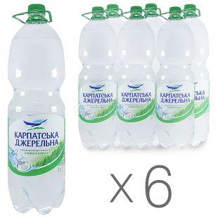 Карпатська Джерельна, 2 л, Упаковка 6 шт., Вода минеральная слабогазированная, ПЭТ
