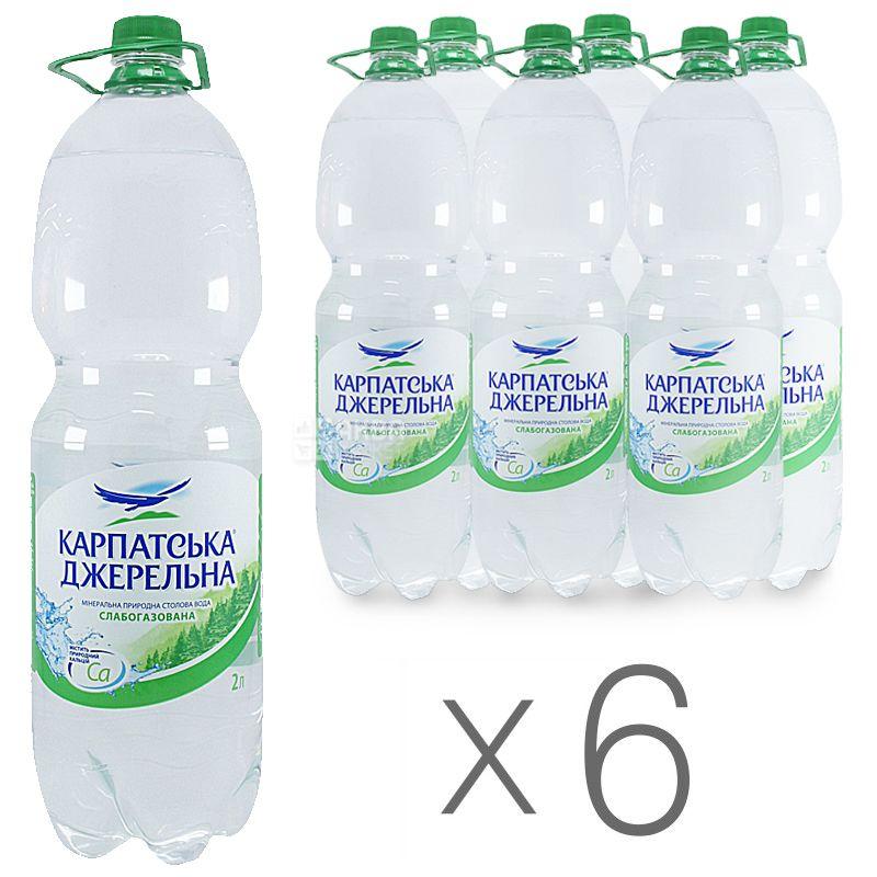 Карпатська Джерельна, 2 л, Упаковка 6 шт., Вода мінеральна слабогазована, ПЕТ