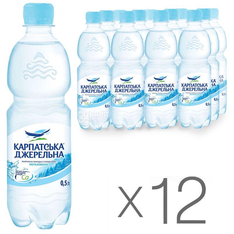 Карпатська Джерельна, 0,5 л, Упаковка 12 шт., Вода мінеральна негазована, ПЕТ