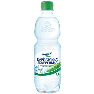 Карпатська Джерельна, 0,5 л, Упаковка 12 шт., Вода минеральная слабогазированная, ПЭТ