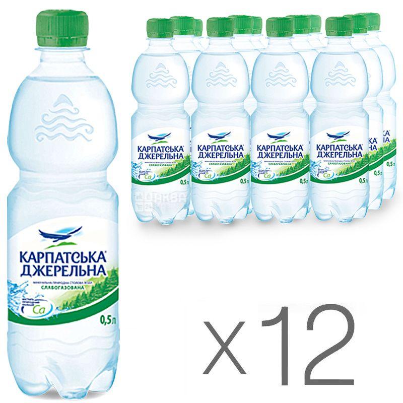 Карпатська Джерельна, 0,5 л, Упаковка 12 шт., Вода мінеральна слабогазована, ПЕТ