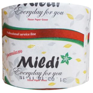 Mildi, 65 m, Toilet paper, Maxi, With a sleeve, Single-layer, 230 separations, Green