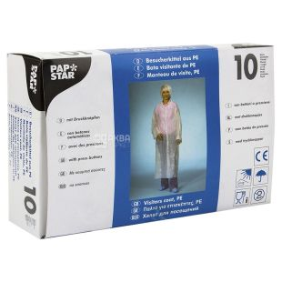 Pap Star, 10 шт., 150х125 см, Халат ХД, Одноразовий