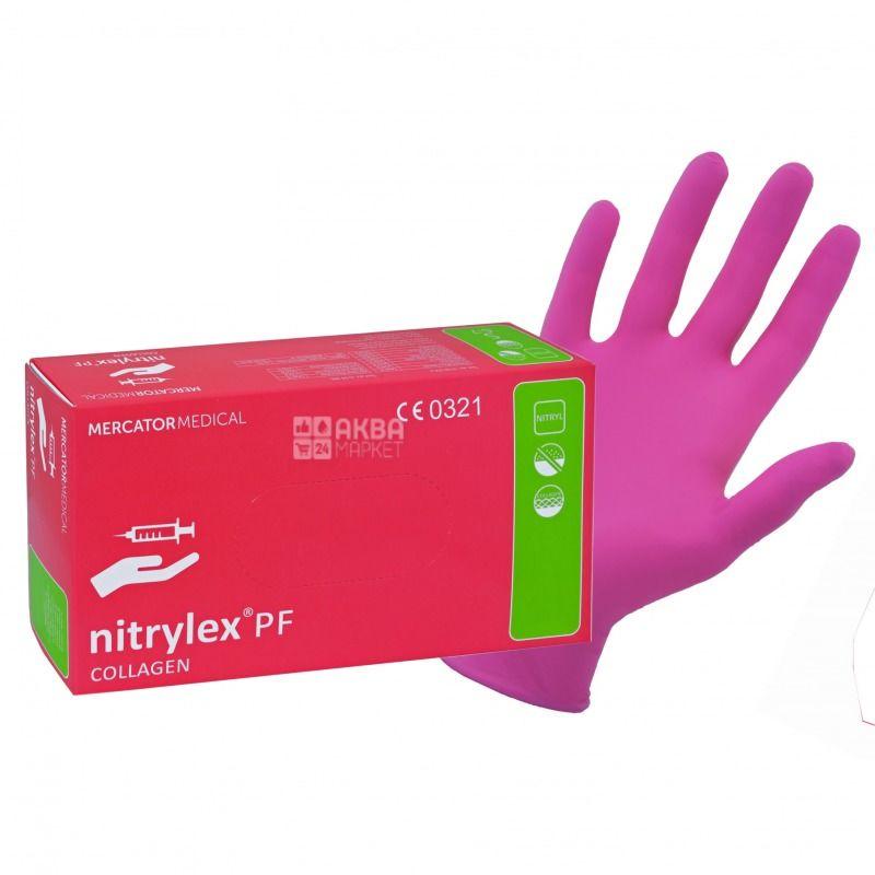 Mercator Medical, 100 шт., Перчатки, Nitrylex Collagen, Нестерильные, Нитриловые, Размер L, Розовые