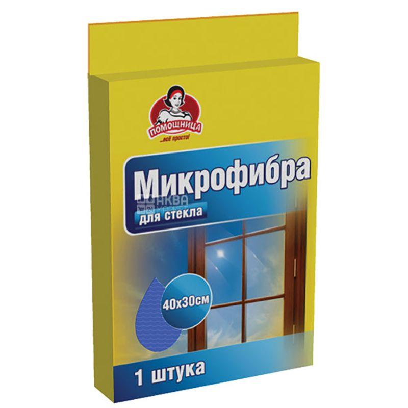 Помощница, 1 шт., Салфетка, Из микрофибры, Для стекол