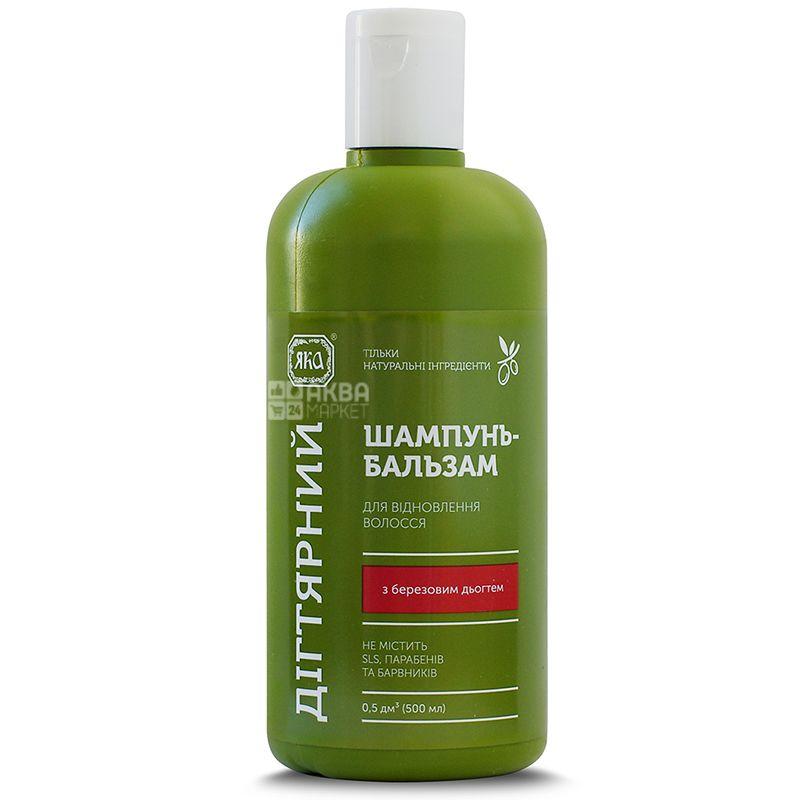Яка, 500 мл, Шампунь-бальзам,Для восстановления волос,Дегтярный, ПЭТ