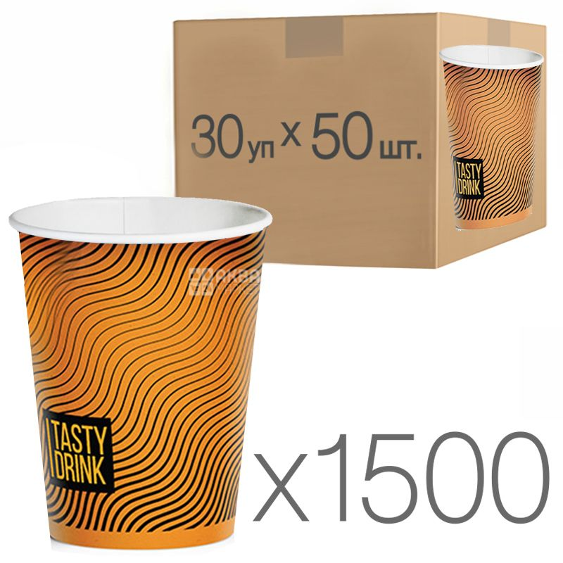 Стакан бумажный с рисунком Геометрия 250 мл, 30 упаковок, D80