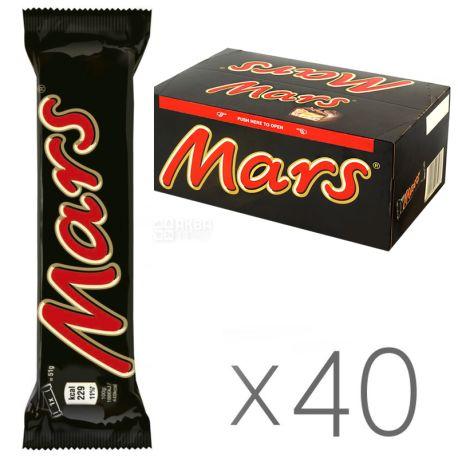 Mars, 51 г, упаковка 40 шт., Шоколадный батончик, Марс