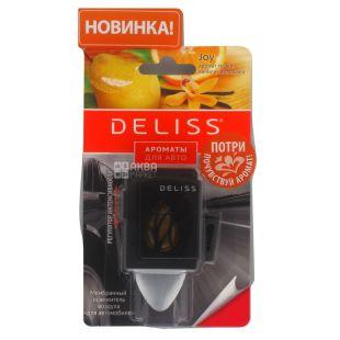 Deliss, 1 шт., Освіжувач повітря для автомобіля, Мембранний, 2 аромата: ваніль, груша, апельсин / мандарин, лохина, ваніль
