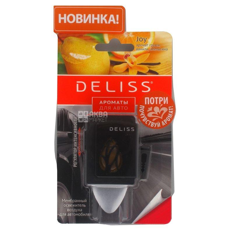 Deliss, 1 шт., Освежитель воздуха для автомобиля, Мембранный, 2 аромата: ваниль, груша, апельсин / мандарин, голубика, ваниль