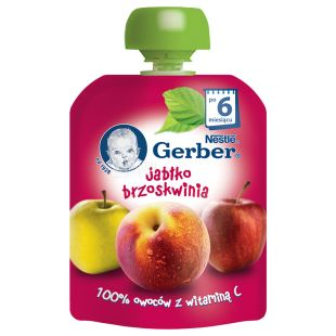 Gerber, 90 g, Fruit puree, Apple and peach, m / y