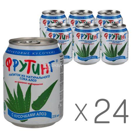 Fruiting, Natural aloe drink, 238 мл, Упаковка 24 шт., Фруттінг, Напій з натурального алое з шматочками алое, ж/б