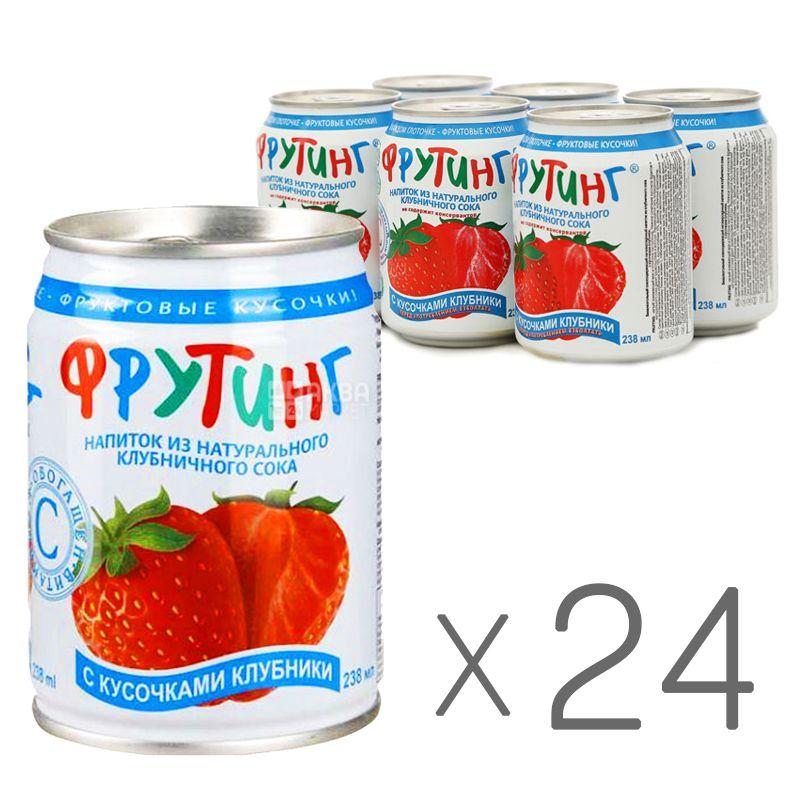 Fruiting, Natural strawberry juice, 238 мл, Упаковка 24 шт., Фруттинг, Напиток соковый, с кусочками клубники, ж/б