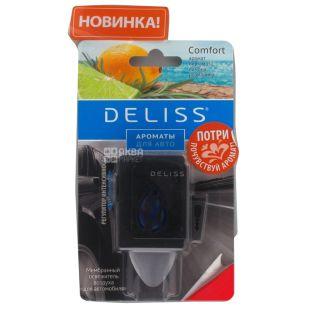 Deliss, 1 шт., Освежитель воздуха для автомобиля, Comfort, Мембранный, Аромат бергамота, лимона, розмарина